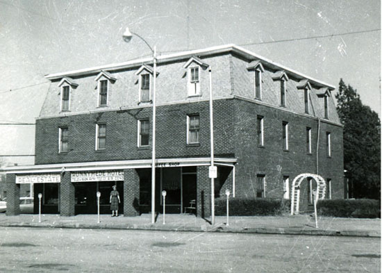 Front of building, 1950s